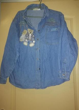 Брендовая женская рубашка джинсовая