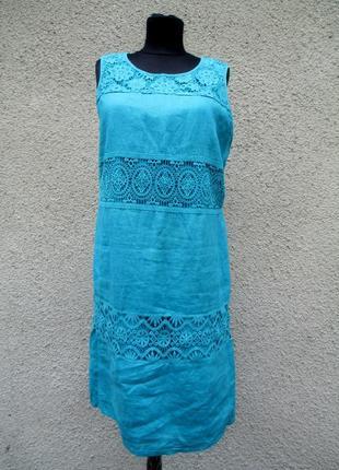 Платье льняное бирюзовое