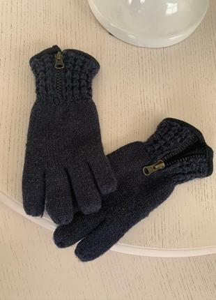 Синие вязаные перчатки с замком для мальчика