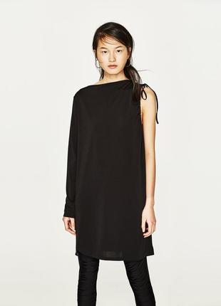 Платье на одно плече один рукав zara оригинал прямое