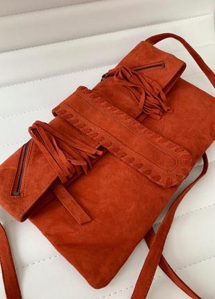 Мягкая замшевшая сумка naf- naf