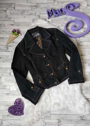 Джинсовый пиджак adl женский черный с вышивкой