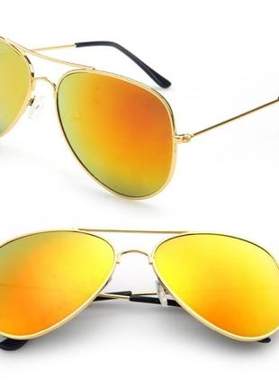 Стильные солнцезащитные очки-авиаторы,универсальные. защита uv400