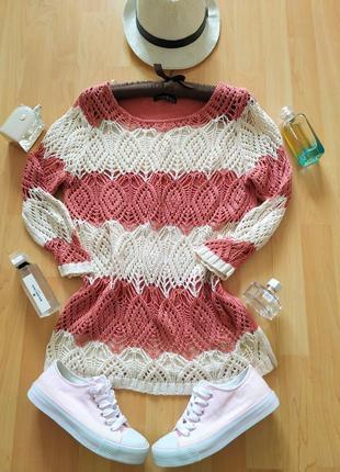 Весенний кружевной полосатый свитер.