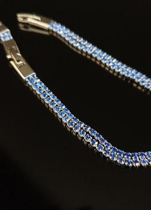 Браслет xuping со стразами, с синими камнями, позолота родий, ювелирная бижутерия3 фото