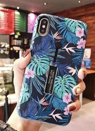 Чехол на айфон 11 с принтом с листьями с попсокетом и подставкой