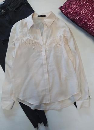 Рубашка с бахромой zara свободного кроя