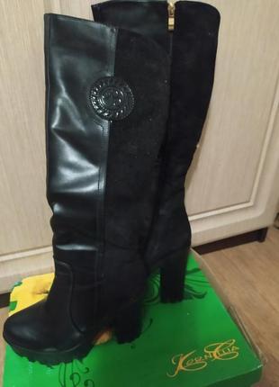 Обалденные зимние сапоги на высоком каблуке