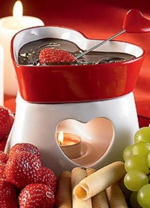 """Фондюшница набор для шоколадного фондю """"влюблённые сердца"""""""