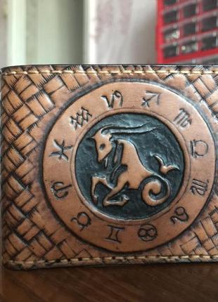Зодиак козерог кожаный мужской кошелек