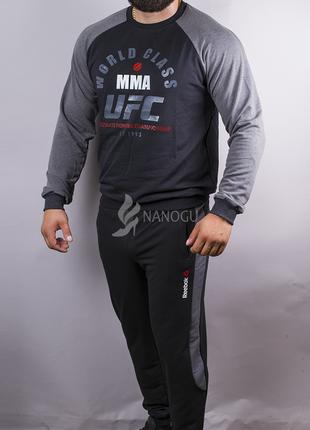 Спортивный костюм мужской reebok ufc черный с серыми рукавами