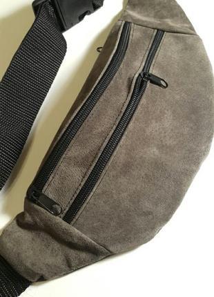 Серая графит замшевая бананка натуральная кожа сумка на пояс на плечо