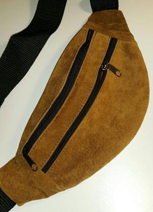Бананка из натуральной кожи замши, кожаная сумка на пояс на плечо