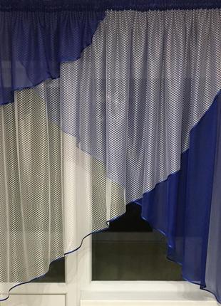 Синяя тюль на кухню