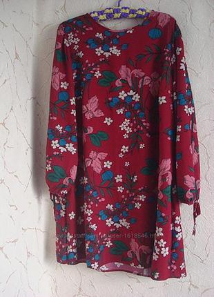 Красивое бордовое платье в цветы papaya
