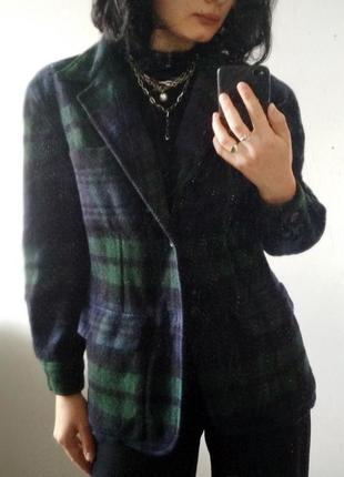 Винтажный шерстяной пиджак в клеточку ralph lauren синий зеленый клетка black watch