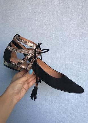 Красивые туфли лодочки /балетки с острым носом