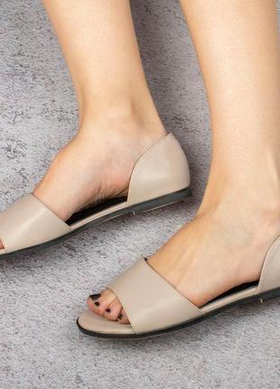 Бежевые босоножки сандалии на плоской подошве низкий ход балетки