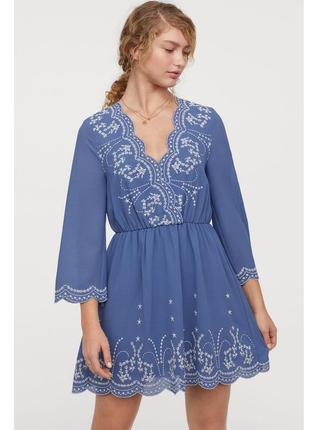 Синее платье с вышивкой sale