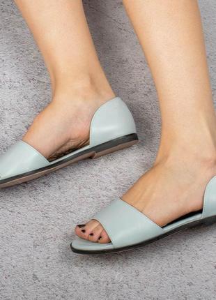 Голубые босоножки сандалии на плоской подошве низкий ход балетки