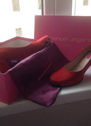 Туфли красные замшевые emanuel ungaro 40,5 размер