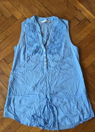 Голубая хлопковая рубашка для беременных
