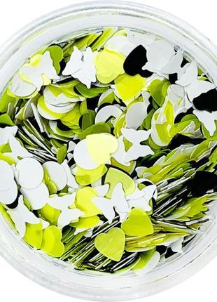 Конфетти для дизайна ногтей лимонные