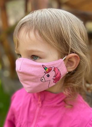 Маска защитная «unicorn» розовая детская 3-6 лет