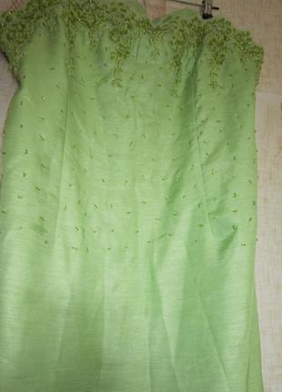 Бюстье вышитое жемчугом приталенное платье женское