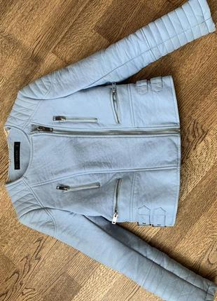 Куртка голубая из кожзама