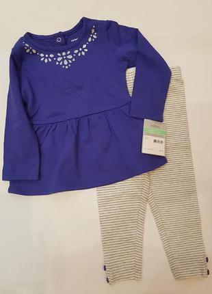 Carters набор комплект для девочки платье лосины 18мес