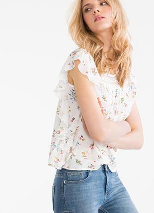 Блуза s m свободная кружево кружевная повседневная воланами легкая футболка цветы цветная