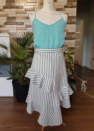Льняная актуальная асимметричная юбка миди с оборками m&s 12/40 размер