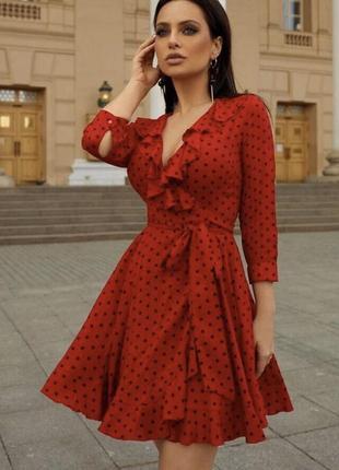 Платье короткое горошек на запах пояс