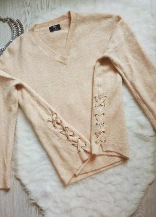 Розовый бежевый пудровый свитер оверсайз вязаная кофта с завязками по бокам шнуровкой