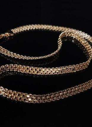 Позолоченная цепочка xuping, позолота 585 проба, медицинское золото бижутерия цепь бисмарк