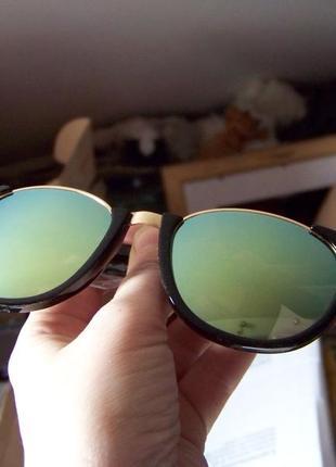 Полуободковые очки антиблик с черной оправой и голубой зеркальной линзой италия