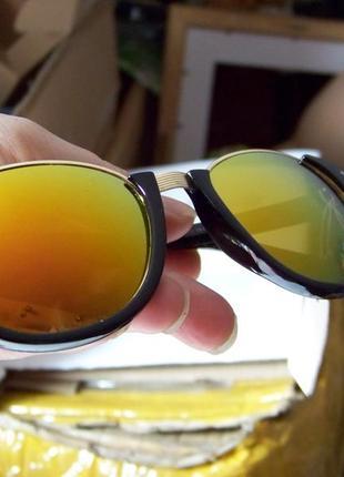 Полуободковые очки антиблик с черной оправой и оранжевой зеркальной линзой италия
