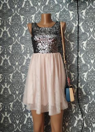 Платье в паетки с жемчугом низ фатин цвет пудра💃💎