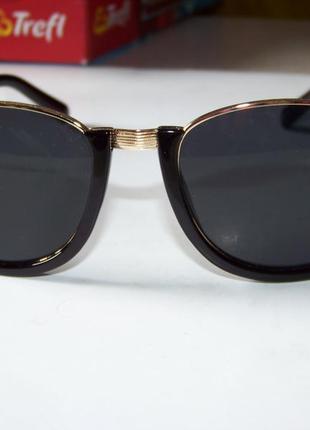 Полуободковые очки антиблик с черной оправой и черной дымчатой линзой италия