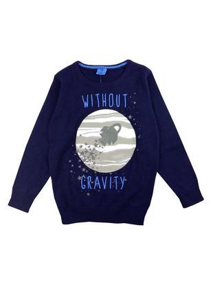 Стильный темно - синий джемпер с ракетой для мальчика, kiki&koko / kik