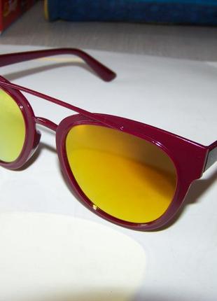 Распродажа солнцезащитные вишневые очки с оранжевым зеркалом и покрытием антирефлекс