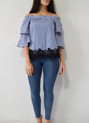 Блузка с кружевом zara