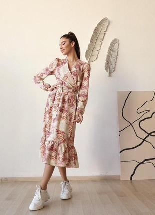 Платье миди с принтом