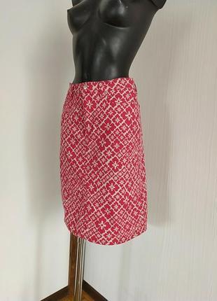 Джинсовая юбка карандаш в цветочный принт
