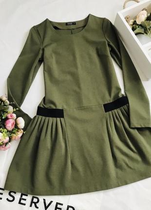 Платье оливкового цвета, удобное платье, весеннее платье