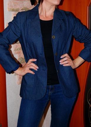 Стильный прямой удлинненный натуральный пиджак
