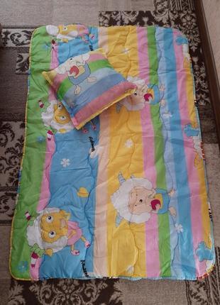 Комплект одеяло и подушка детские в подарок тонкая подушка