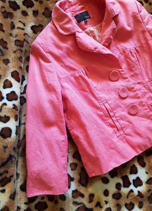Льняной розовый пиджак next