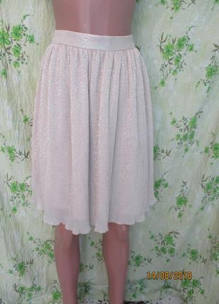 Трендовая нарядная юбка плиссе пудровая с блестками uk 12-14/46-48 размер